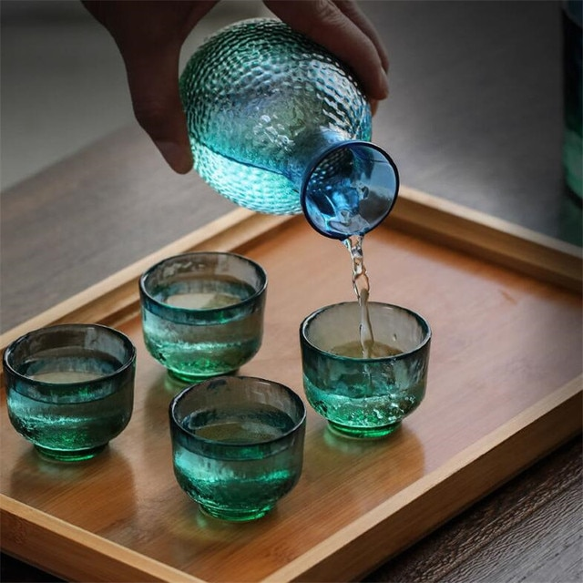 Wine Glass Set Japanese Style Divide Hand Made Heat Resistant Warmer 2
