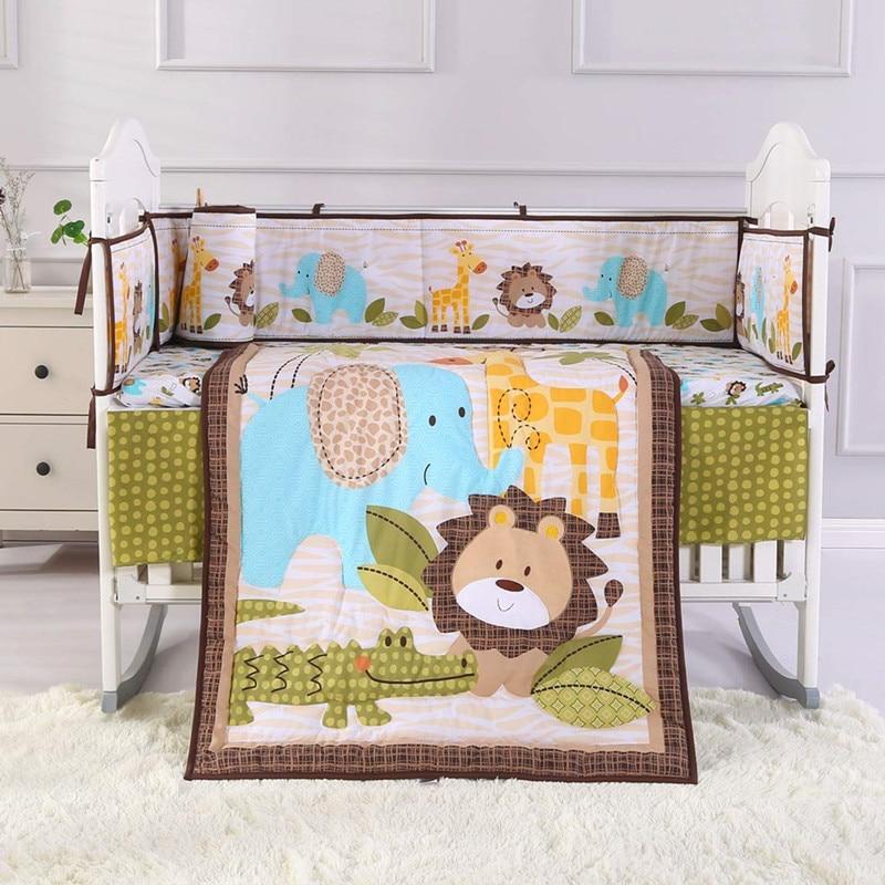 7 pcs bordado leao kit berco berco do bebe conjuntos de cama cama cama bebe 4 para