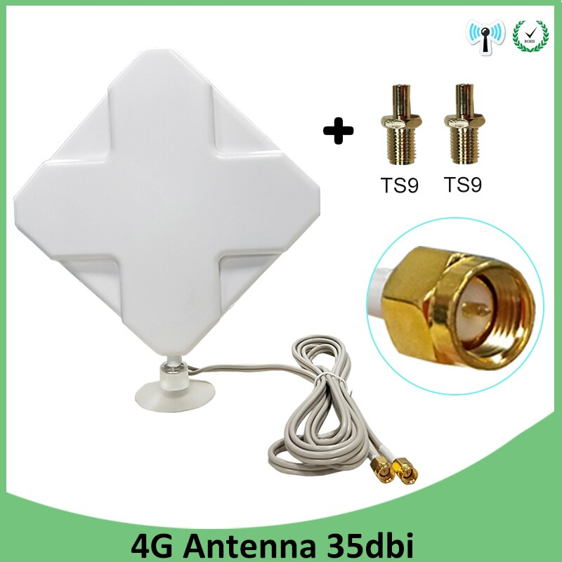 lson w425 4g ts9 network antenna adapter white cable 2m 3G 4G Antenna 35dBi 2m Cable LTE Antena 2 * SMA connector for 4G Modem Router +Adapter SMA Female to TS9 Male connector