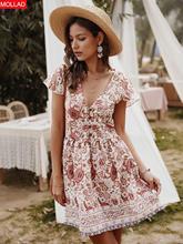 Summer V-neck Holiday Print Dress Casual Women Dress Mini Summer Dress