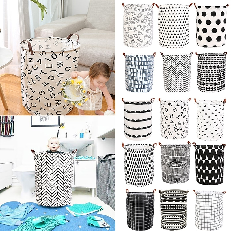 High Capacity Folding Clothing Storage Bin Clothes Toy Laundry Basket Toys Towels Quilts Finishing Bucket with Leather Handle