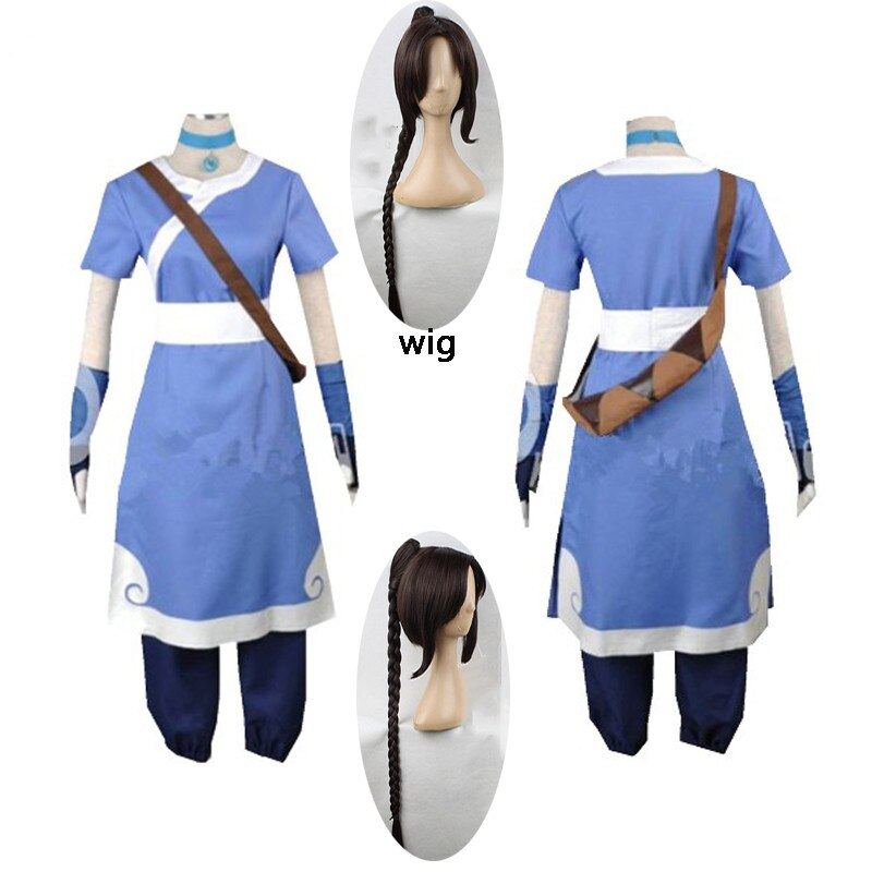 2020 New 6PCS Avatar The Last Airbender Katara men Cosplay Costume Halloween cosplay women costumes and wigs custom made size