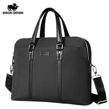 BISON DENIM Fashion Male Bag Luxury Fabric Handbag 14 inches Laptop Business Bag Men Messenger Bag Travel Crossbody Bag N2835