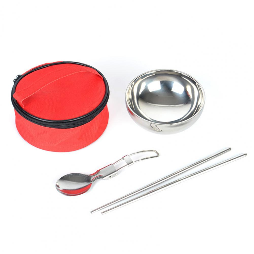 Stainless Steel Two-Layer Insulated Tableware Picnic Cooking Pots Set Outdoor Hiking camping Tableware Camping Tourism Supplies