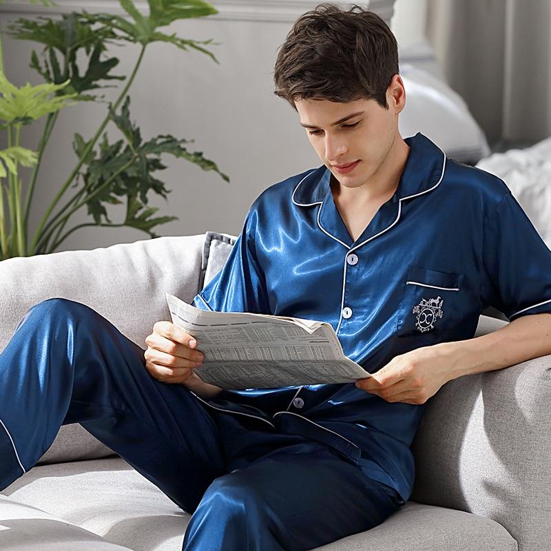 Пижамы мужские летние короткие рукав длинные брюки лед шелк из двух частей пижама комплекты синий тонкий мужские пижамы домашняя одежда 9008B