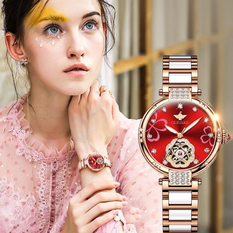 إمرأة مصمم ساعات ساعة فاخرة ماركة OUPINKE ميكانيكي سيراميك أنيق آليّ مقاوم للماء ساعة ماسية سوار مجموعة