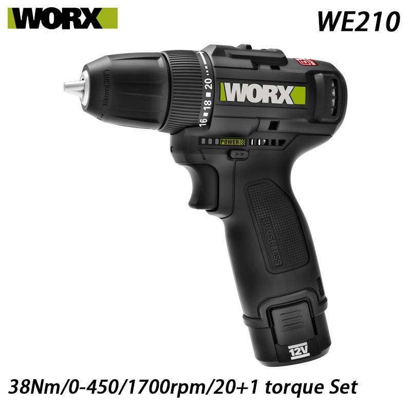 WORX WE210 12 فولت 38Nm اللاسلكي الكهربائية الحفر فرش السيارات أداة المهنية مع Rechargerable حصة worx منصة بطارية 12 فولت