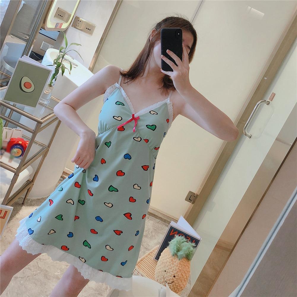 Sleeveless V-Neck Nightgown Nightwear Sexy Sleep Dress Women Lace Nightdress Summer Thin Lounge Soft