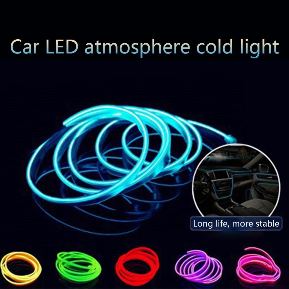 CARCTR, 1m/3m, tiras ligeras de Led para coche, lámpara de ambiente para coche, tira de decoración, 12V, Panel Universal de instrumentos, líneas de luz modificadas