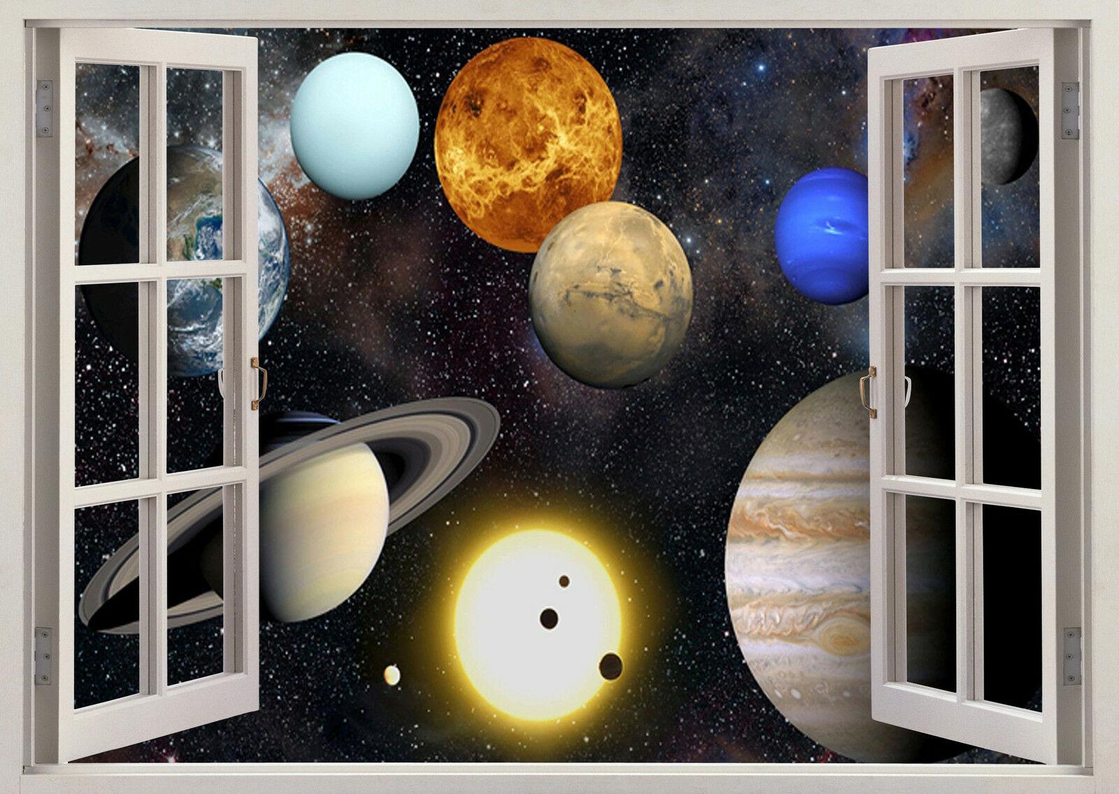 Planets Solar System Galaxy Window Art Film Print Silk Poster Home Wall Decor 24x36inch