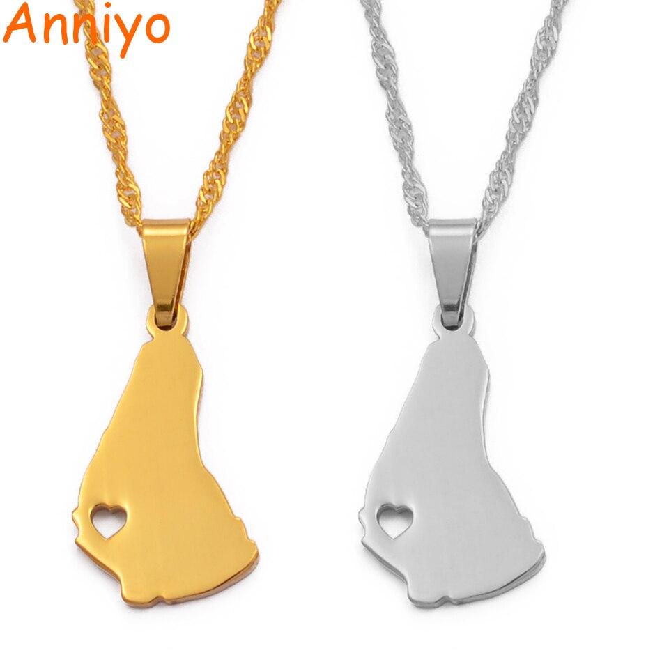 Anniyo-Colgante con forma de mapa de la isla de Barbados, collar, Color...