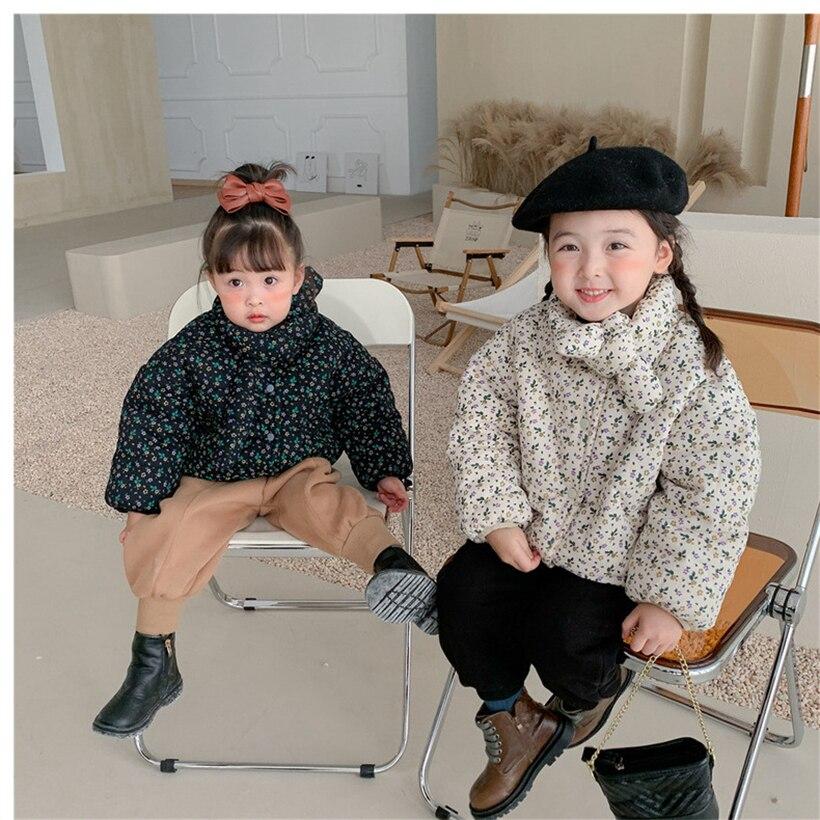 الشتاء الأطفال سترة الأزهار طفل الفتيات معطف سميكة الصوف الاطفال ملابس خارجية للفتيات سترة القوس طفل سترة Velet 1-7Y