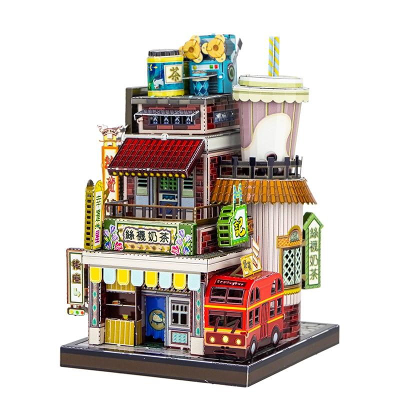 MU-أحجية الصور المقطوعة المعدنية ثلاثية الأبعاد ، نموذج بناء لمتجر شاي الحليب الياباني ، هدية للأطفال