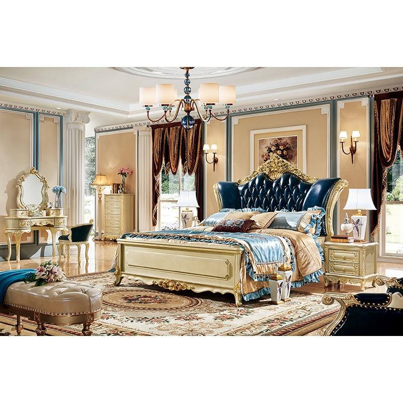 Hot sale american king size antique royal gold bedroom sets furniture luxury