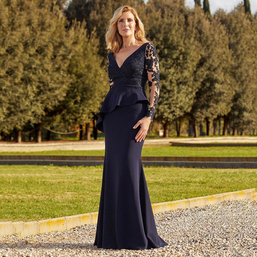 Fashion vestidos de noite V Neck Satin Mermaid Long Sleeves Mother of the Bride Dresses Ruffles Lace