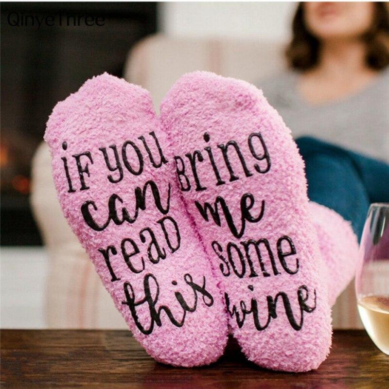 Vino impreso Rosa terry cake calcetines niñas coral fleece calcetines mujeres engrosamiento caliente invierno suave piso calcetines Navidad sox regalo de Año Nuevo