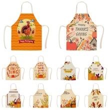 1Pc Kitchen Aprons for Women Cotton Linen Bibs Household Home Autumn Thanks Giving Home Cooking Baking Waist Bib Pinafore WQ1693