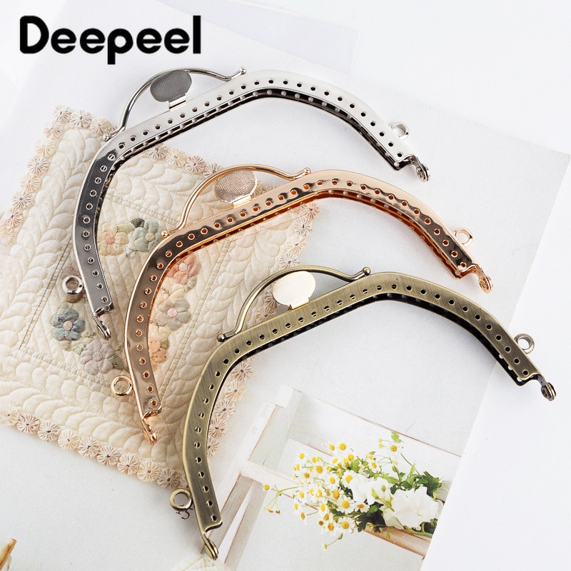 5pcs Deepeel 13cm Square Arch Double Ring Handle Mini Sewing Brackets Decorative Kiss Clasp Purse Frame for Bag Purse Accessory