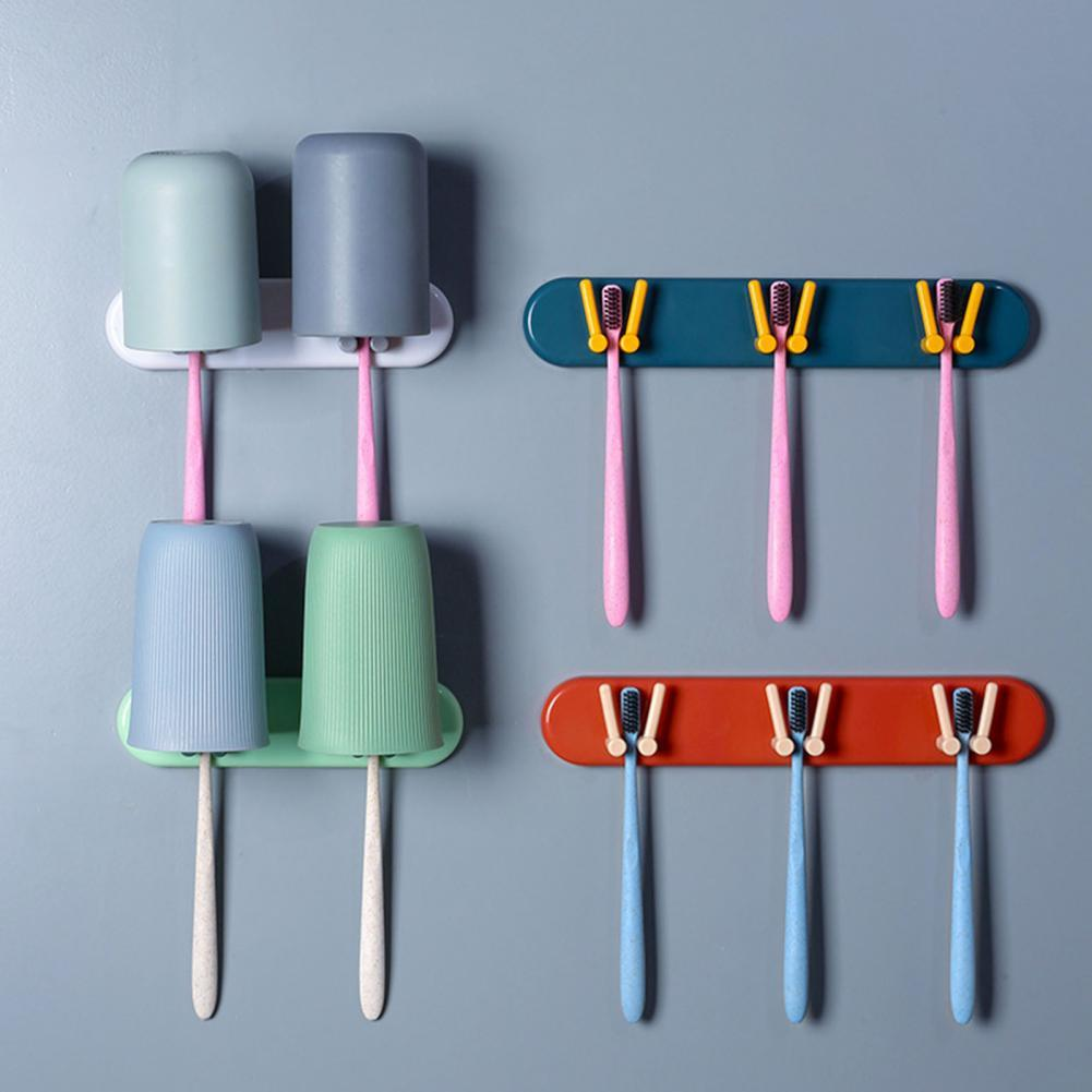 Wall Mounted Hanging Toothbrush Storage Rack Bathroom Punch Free Wash Cup Holder