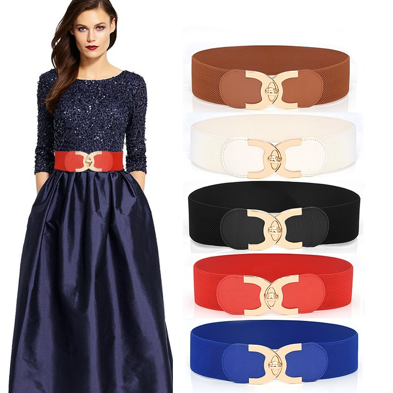 2020 New Fashion Korean Style Buckle Elastic Wide Belt Wide Cummerbund Strap Belt Waist Female Women