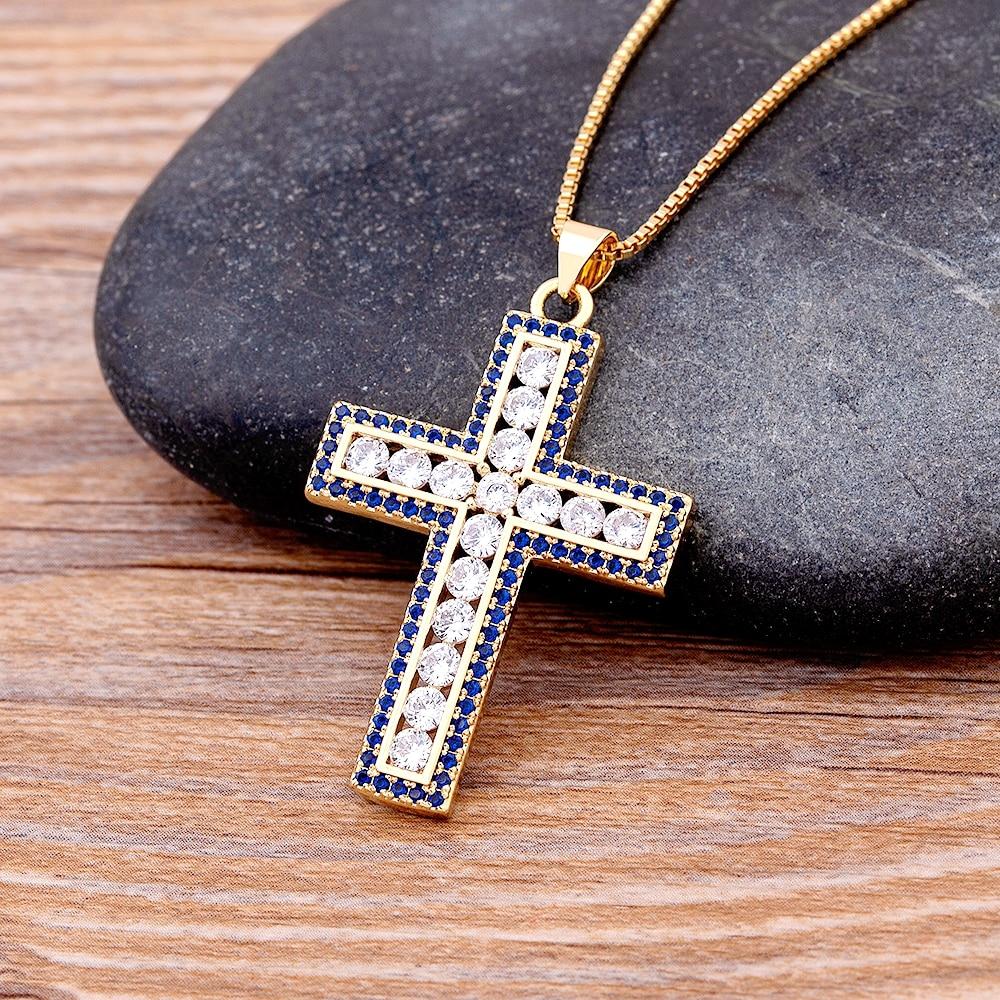 Женский кулон с крестом из циркония, 4 цвета