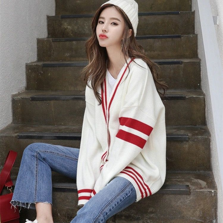 2020 new jacket women's fashion autumn lazy wind sweater cardigan student loose long sleeve sweater women's winter enlarge