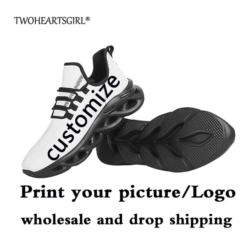 Privado dos Homens Rendas até Sapatos Personalizado Impressão Tênis Casuais Sapatos Planos Respirável Confortável Malha Tricô Moda Universal 3d