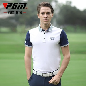 PGM Golf Men's Summer Short-Sleeved T-shirt Golf Pure Cotton Breathable Quick-Drying Clothes Yf257