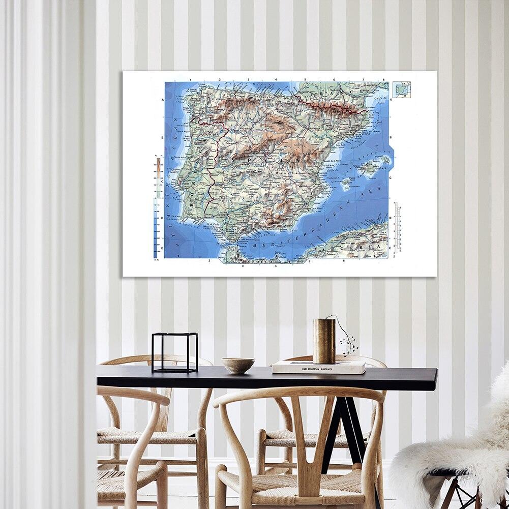 Орографическая карта Испании, 150*100 см, детальный плакат, Нетканая Картина на холсте, настенные художественные принты, школьные принадлежнос...
