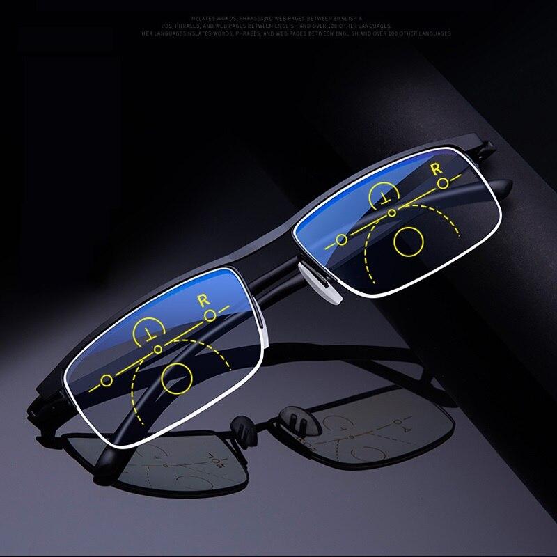Многофокальные прогрессивные очки для чтения для мужчин и женщин, пресбиопические с защитой от синего излучения и автоматической регулировкой в полуоправе, для мужчин и женщин