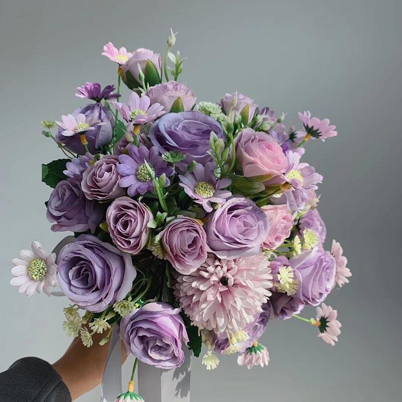باقة ورد أرجوانية ريفي ، نباتات شامبانيا ، بودا ، زينة زفاف للعروس ، لمسة حقيقية ، PH66
