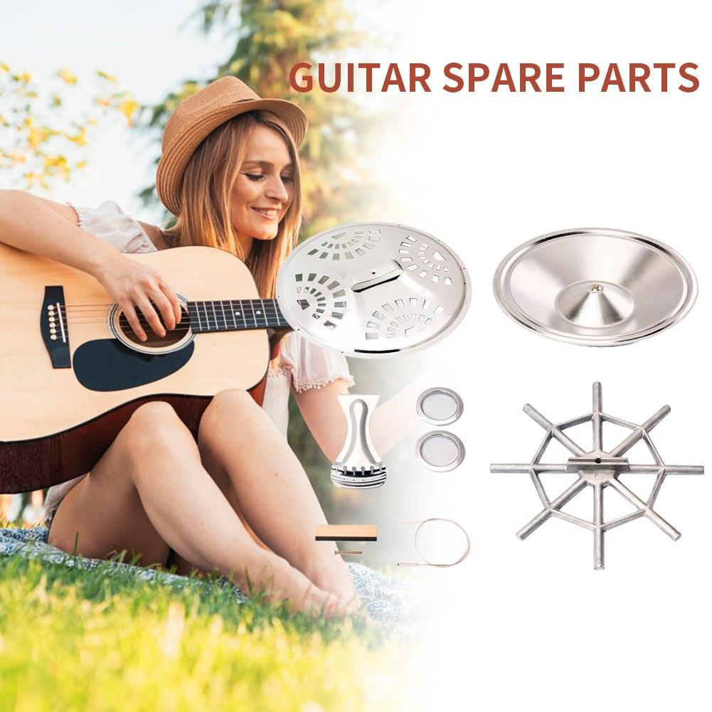 8 unids/set Dobro piezas accesorios para guitarra con resonador cono Soundhole pantallas Tailpiece araña puente sillín guitarra partes