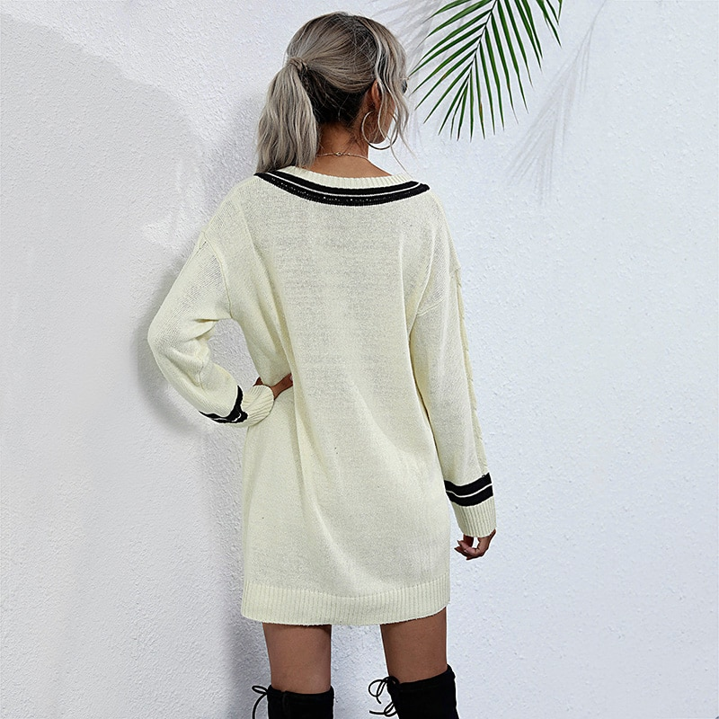 2020 Autumn Winter Women Long Sweater Christmas Ladies Simple Design V Neck Solid Knit Undershirt Female Casual Fashion Tops enlarge