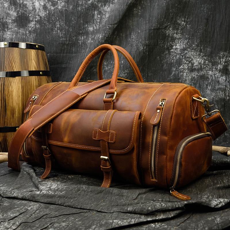 Vintage Crazy Horse leather Travel Bag With Shoe Pocket 20 inch big capacity Real Leather Weekend luuage Bag large Messenger Bag