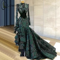 arabic style emerald green high low mermaid evening dresses muslim long sleeve beading prom party gowns plus size robes