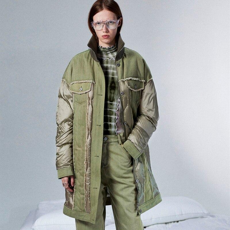 11,11 diseño Original AIGYPTOS mujeres abrigo guapo Safari estilo otoño invierno cálido Denim Patchwork Long Light Frock Down Jacket