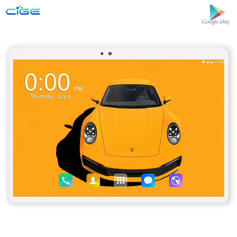 CIGE Cheap 10 Inch Tablet PC Octa Core 6GB RAM 64GB ROM 1280x800 IPS Display Dual SIM Card Android 9.0 WiFi FM GPS For Children