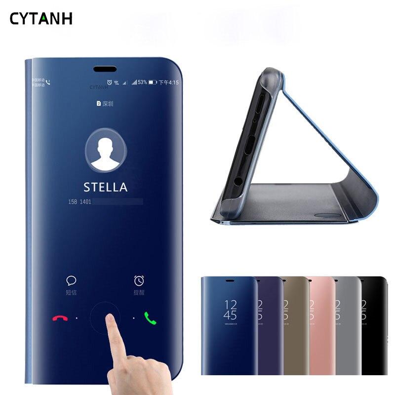 Caso Espelho De Couro Do Caso Da Aleta inteligente para Samsug Galaxy A50 A40 A70 A20E Visão Clara para Samsung um 50 70 40 20E Tampa Do Telefone
