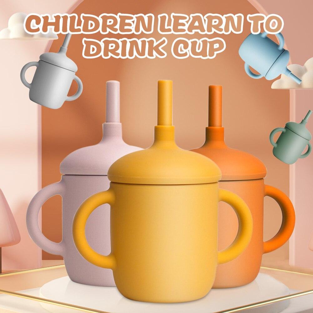 6 цветов детская чашка для питья силиконовая тренировочная чашка Съемная трубочка герметичная Нескользящая чашка для малышей чашка для мла...