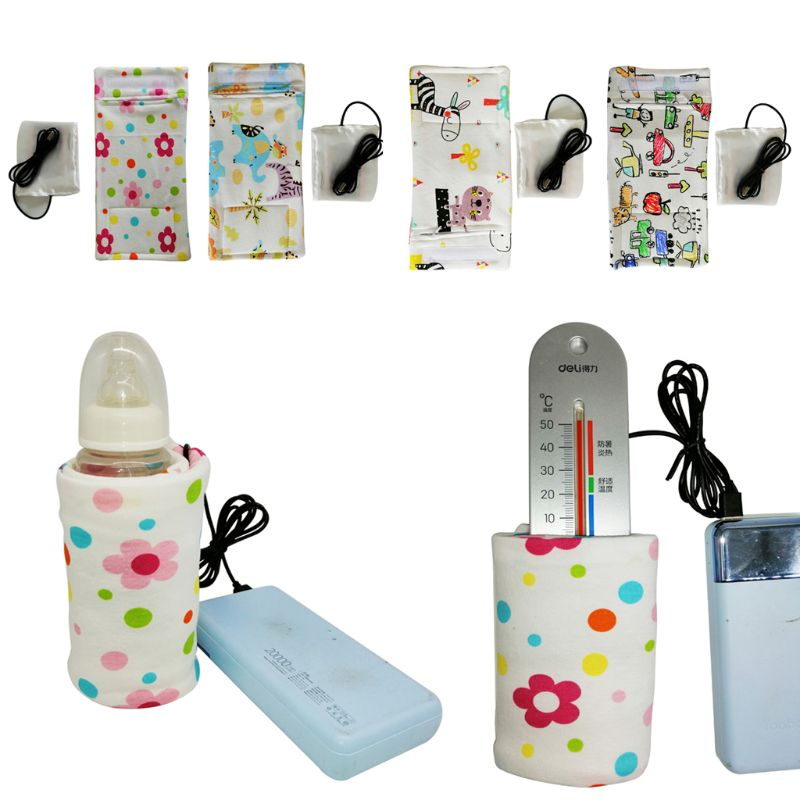 USB Charging Newborn Baby Bottle Warmer Portable Outdoor Infant Milk Feeding Bottle Heated Cover Baby Nursing Insulated Bag Care