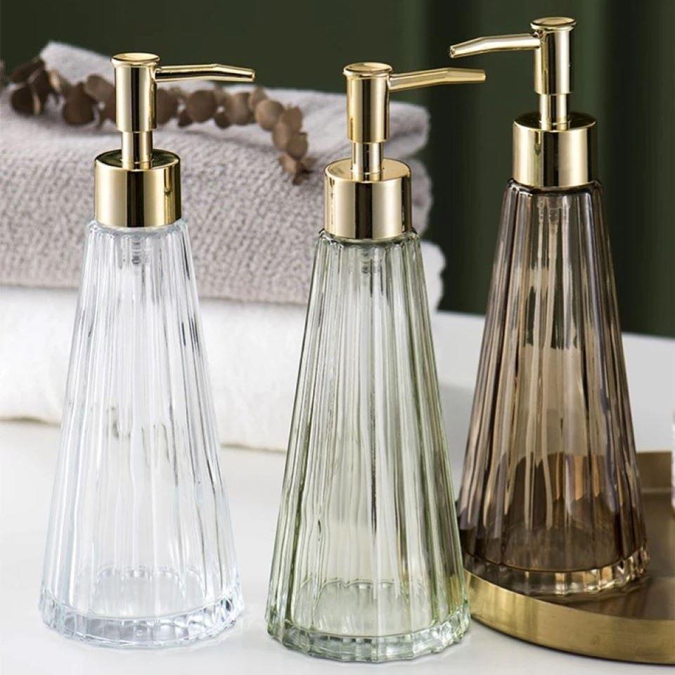 300ML Glass Bottles Unique Design Liquid Soap Dispenser Shower Gel Makeup Shampoo Bottle Hand Sanitzer Holder For Bathroom
