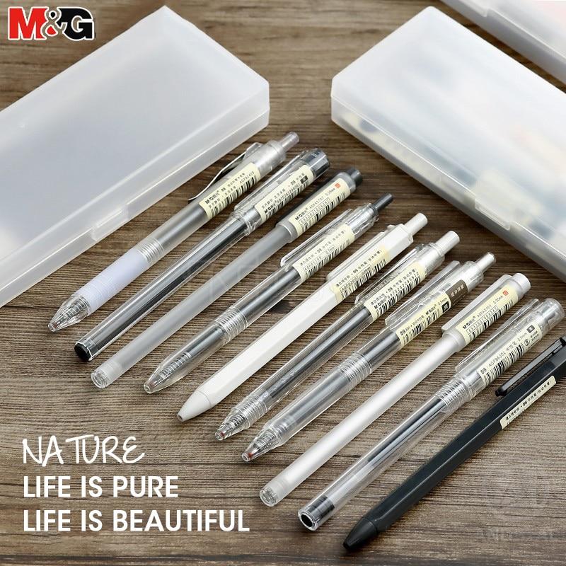 Juego de bolígrafos de Gel M & G 10/20 piezas estilo Ultra Simple, bolígrafos de Gel 0,35 0,38 0,5mm, bolígrafos de Gel de tinta negra para material de oficina y escuela, papelería gelpen