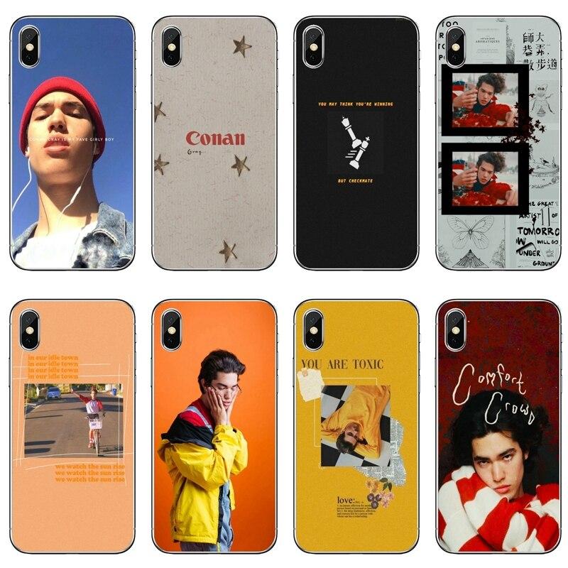 Conan capa para celular acessório cinza, para iphone 11 pro xs max xr x 8 7 6 6s plus 5 5S se 4S 4 ipod touch 5 6