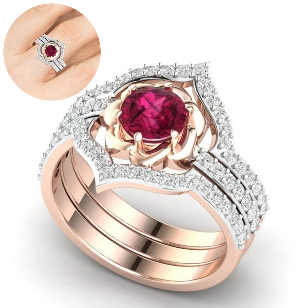 3Pcs Elegent Women Faux Ruby Rhinestone Inlaid Finger Ring Band Jewelry Gift