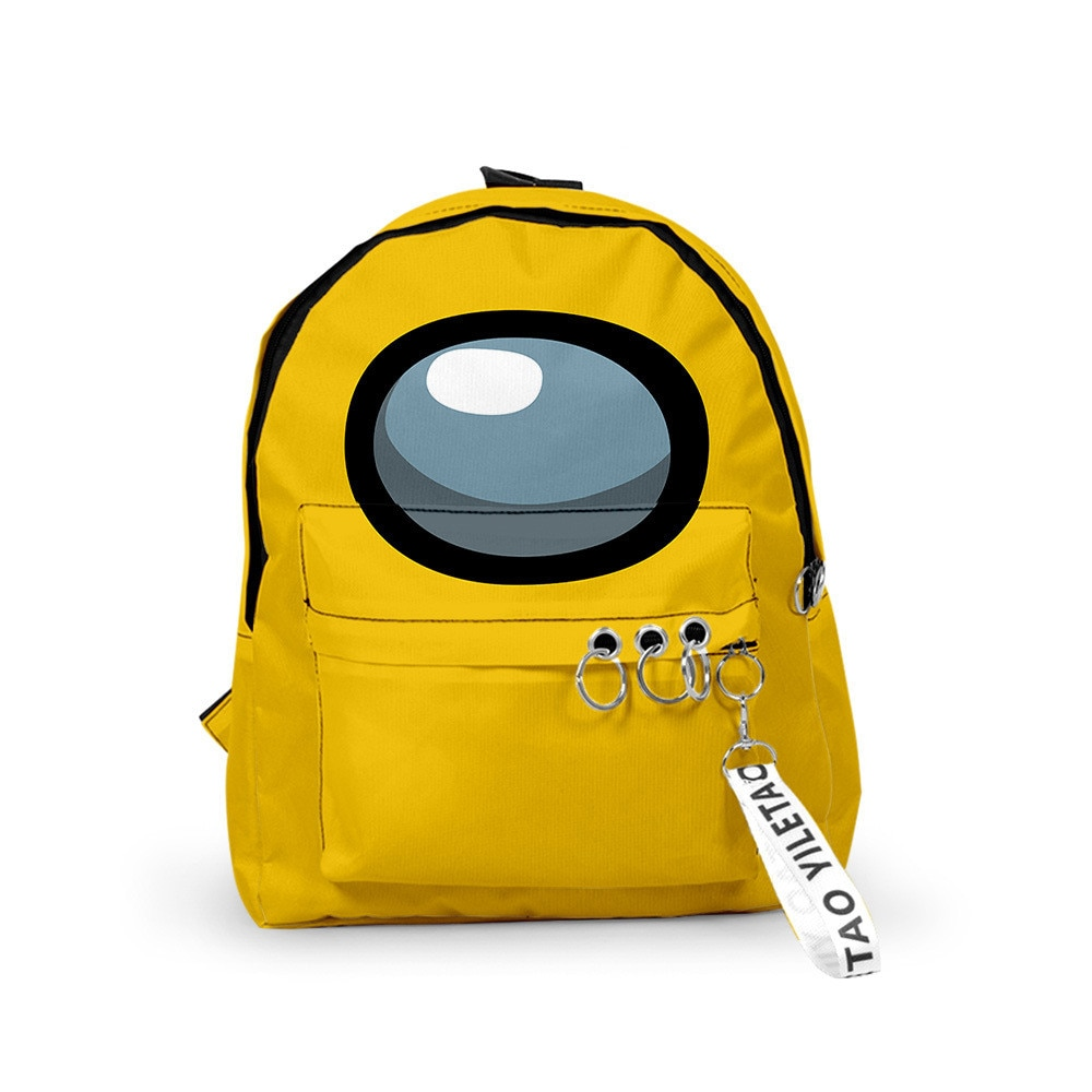 Yellow Among Us Backpacks Small Bags Unisex Candy Colors 3D Oxford Waterproof Key Chain Accessories Kawaii Boys Girls School Bag