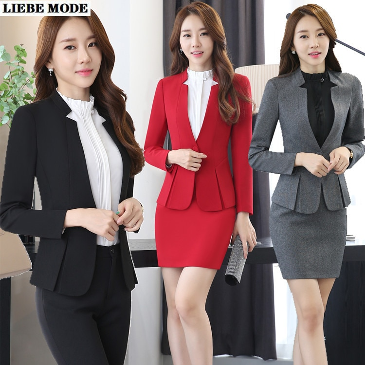 Uniform Design Red Black Grey Formal Business Suits for Women Work Wear Woman Skirt Suits Office Ladies Blazer Set with Skirt