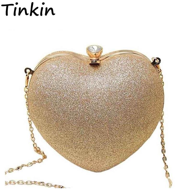 Tinkin Mini bolso perla corazón mujer Bolso noche fashion Bolso indispensable ocasión fiesta Mejor bolso hombro Funda teléfono móvil