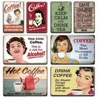 Panneau en metal pour cafe et vin  Vintage  Sexy  Pin-Up  pour fille  assiettes en fer blanc  pour cafe retro  cuisine  pub  pub  cafe  decoration douce pour la maison