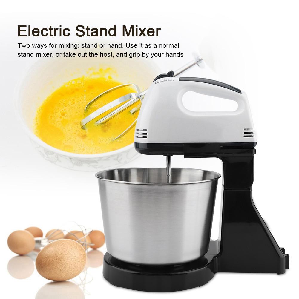 Mezclador de masa para pasteles eléctrico Mezclador de alimentos de 7 velocidades de acero inoxidable batidor de huevos batidor Enchufe europeo 230V 100W