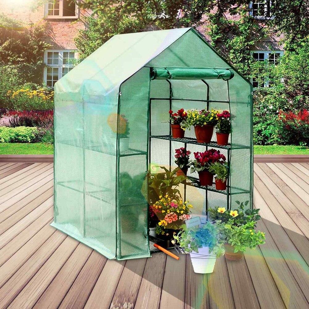 3 طوابق الأخضر المنزلية زهرة النبات الدفيئة حديقة صغيرة غرفة دافئة بولي كلوريد الفينيل غطاء بلاستيكي الدفء